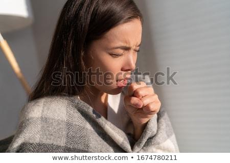 Asiático mulher tosse punho doente coronavírus Foto stock © Maridav