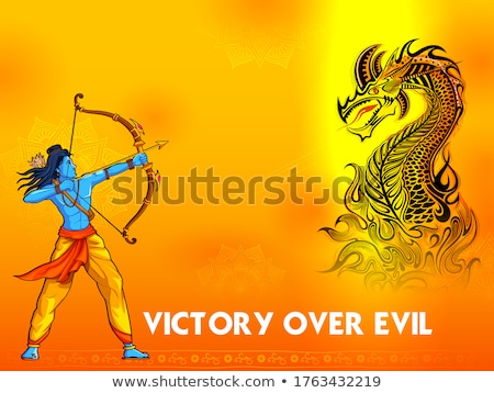 India vs China concept showing tension and confrontation in borders with Lord Rama fighting against  Stock photo © vectomart