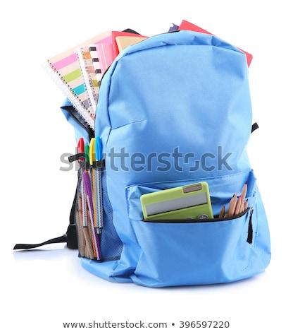 School zak vol rugzak schoolbenodigdheden witte Stockfoto © goir