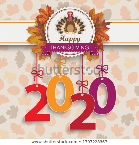 Laub Danksagung Emblem Türkei Herbst Zahl Stock foto © limbi007