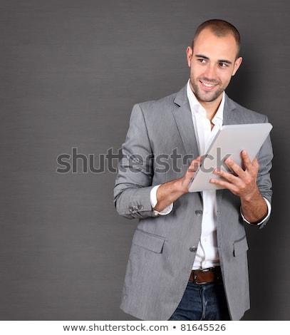 biznesmen · pda · na · zewnątrz · człowiek · technologii · osoby - zdjęcia stock © iofoto