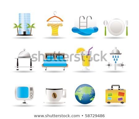 Hotel motel vakantie iconen vector Stockfoto © stoyanh