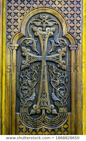 traditional carved wood door in yerevan armenia stock photo © travelphotography
