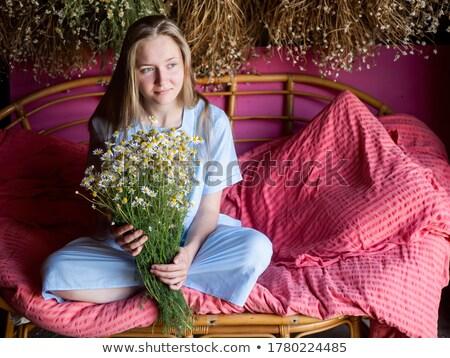 gyönyörű · kisebbségi · báj · lány · kanapé · szexi - stock fotó © darrinhenry