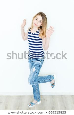Foto stock: Loiro · morena · criança · meninas · retrato · branco