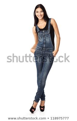 Foto stock: Jovem · morena · menina · posando · jeans