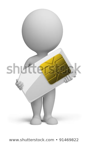 3d small people   sim card stock photo © anatolym