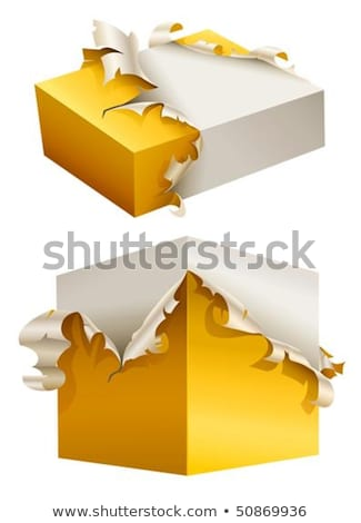 Stock photo: gift box in torn yellow packing
