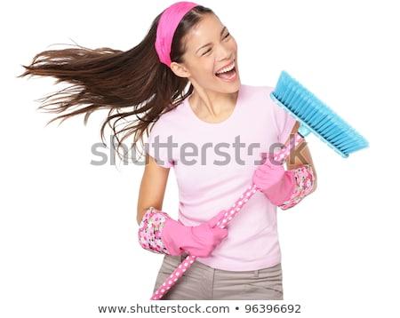 Сток-фото: Spring Cleaning Woman Screaming