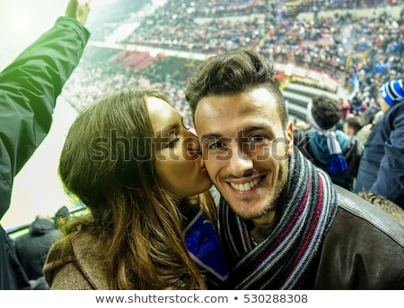 Paare Fußball Paar Freunde Team Fahnen Stock foto © photography33