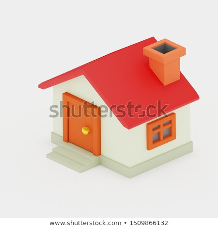 Small red roofed model house over white Stock photo © 3523studio