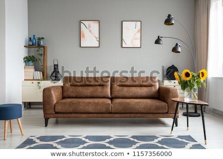 Bőr kanapé lámpa fehér padló fal Stock fotó © Ciklamen