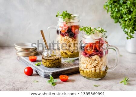 пасты зеленый банку помидоров базилик здоровья Сток-фото © Armisael