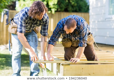 construction worker marking wooden frame stock photo © photography33