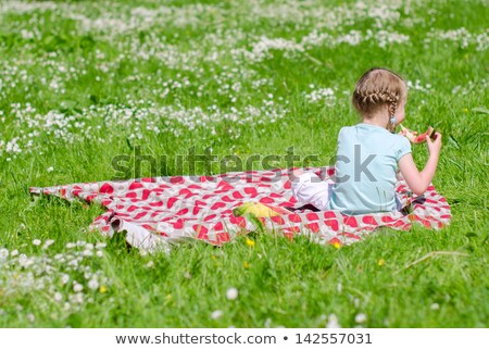 little girl sitting on grass and eat watermelon Stock photo © goce