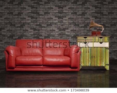 Red sofa and a table stock photo © Ciklamen