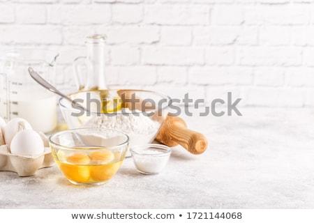 Mąka jaj składniki żywności deser rolnictwa Zdjęcia stock © M-studio