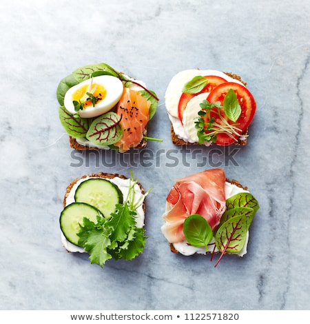 Open sandwich with ham and cheese Stock photo © foto-fine-art