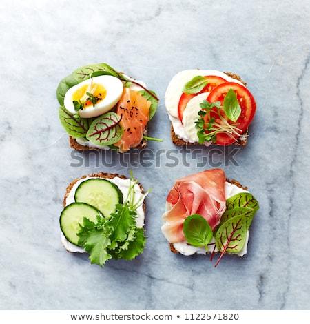 オープン サンドイッチ ハム チーズ スライス ライ麦 ストックフォト © foto-fine-art