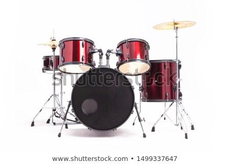 ドラム · カットアウト · セット · 赤 · 孤立した - ストックフォト © ozaiachin