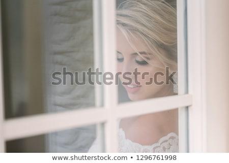 Belo mulher loira rosa vestir branco Foto stock © Pilgrimego