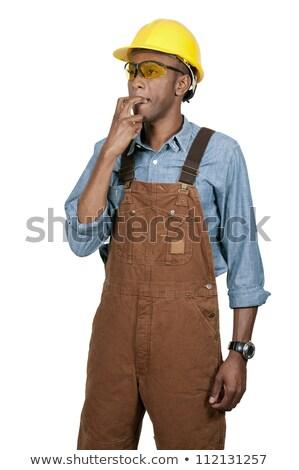 Trabajador de la construcción fondo verde blanco estudio persona Foto stock © photography33