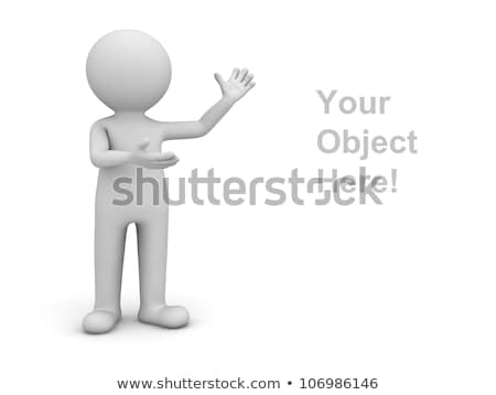 Foto d'archivio: 3d Man Standing With Blank Poster
