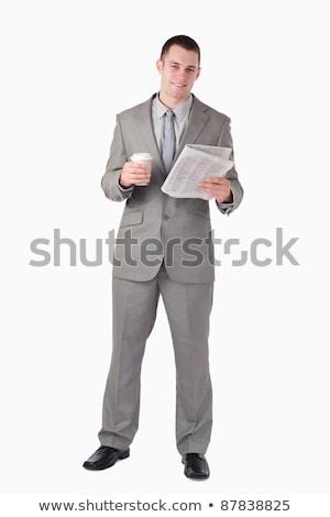 retrato · empresário · copo · chá · leitura - foto stock © wavebreak_media
