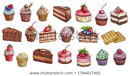 çikolatalı kek meyve krema gıda çikolata tatlı Stok fotoğraf © M-studio