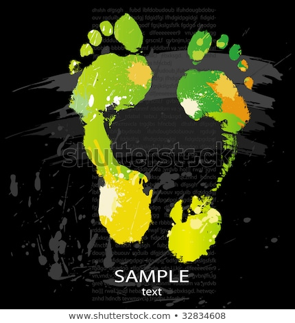 Foot Print From Color Splashes And Line Brushes Stockfoto © wikki