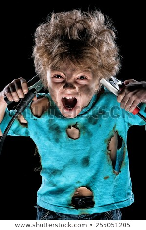 Stock photo: Electrocuted man holding jumper cables