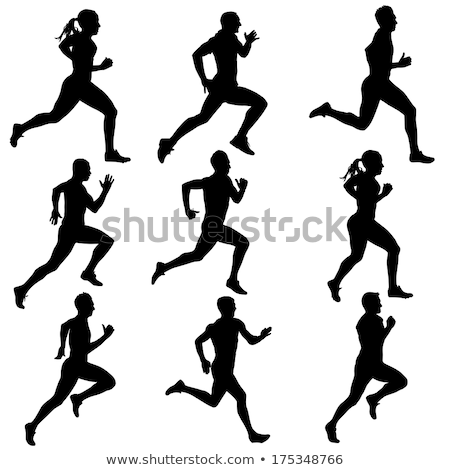 Stockfoto: Group Of People In Silhouettes Running Or Jogging