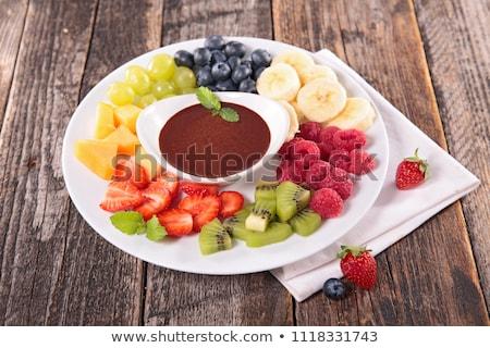 çikolata · meyve · ahşap · meyve · arka · plan · muz - stok fotoğraf © m-studio