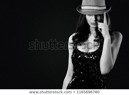 Gizemli kadın fötr şapka şapka yüz Stok fotoğraf © photography33