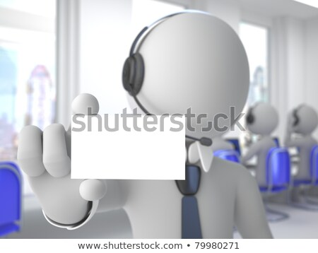 3d Call Center Operator Showing A Blank Card Stockfoto © Texelart