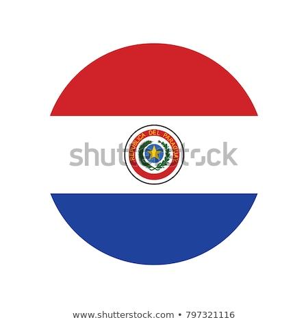 üveg gomb zászló Paraguay piros íj Stock fotó © maxmitzu