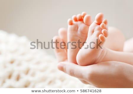 baba · lábak · újszülött · szülők · kéz · gyermek - stock fotó © macsim
