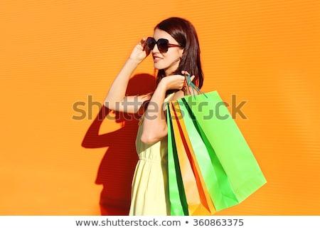 moda · esmer · kız · renkli · kâğıt - stok fotoğraf © lithian