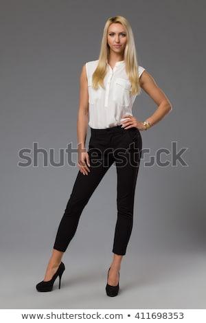 Sarışın model poz iş kadını siyah iş Stok fotoğraf © dash