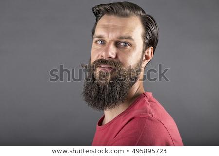 retrato · barbudo · homem · óculos · de · sol · casaco - foto stock © feedough