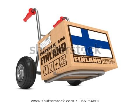 Finland hand vrachtwagen vlag leuze Stockfoto © tashatuvango