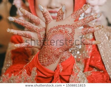Endonezya geleneksel düğün töreni gelin yaprakları avuç içi Stok fotoğraf © antonihalim