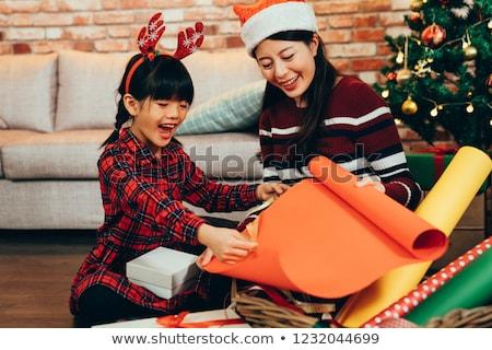 natal · papai · noel · presentes · papel · de · embrulho · férias · surpreendido - foto stock © hasloo