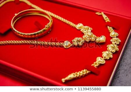 Doboz szív borostyánkő nyaklánc ékszerek terv Stock fotó © Mikko