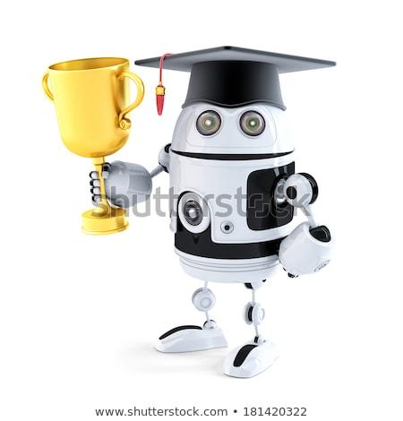 robot · trofee · geïsoleerd · witte · computer · hand - stockfoto © kirill_m