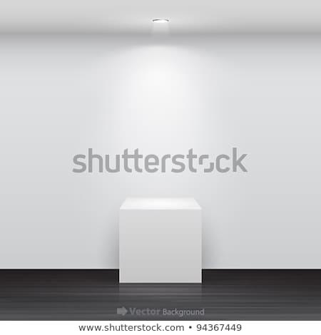 3d Empty white stand with light Stock photo © Elmiko