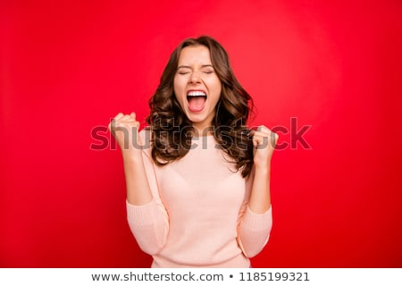 young woman with vivid red mouth Stock photo © adam121