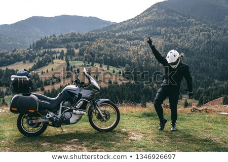 Happy motorcyclists in sunset Stock photo © Anna_Om