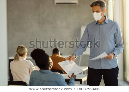 College Professor Vortrag stehen Schreibtisch Bildung Stock foto © Kzenon