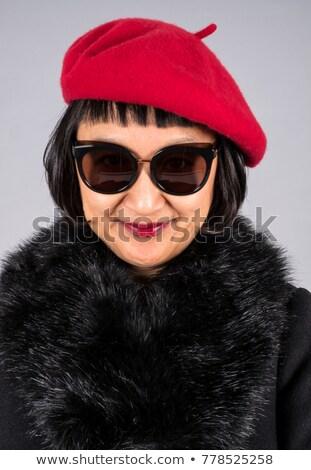 Gelukkig glimlachend schoonheid vrouw bont Stockfoto © feedough
